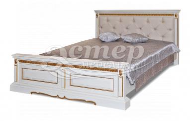 Кровать Милано с каретной стяжкой из массива березы с выдвижными ящиками