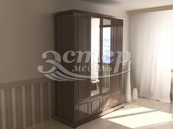 Шкаф четырехстворчатый с нижней антресолью с зеркалом из серии