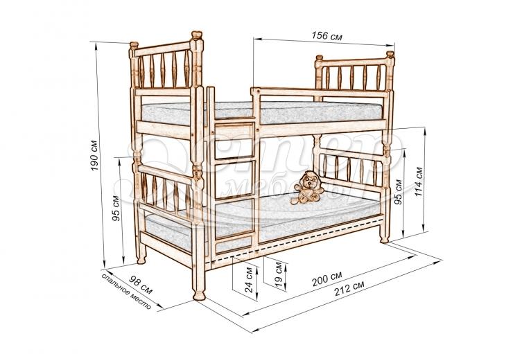 Кровать двухъярусная Фолс из массива дуба