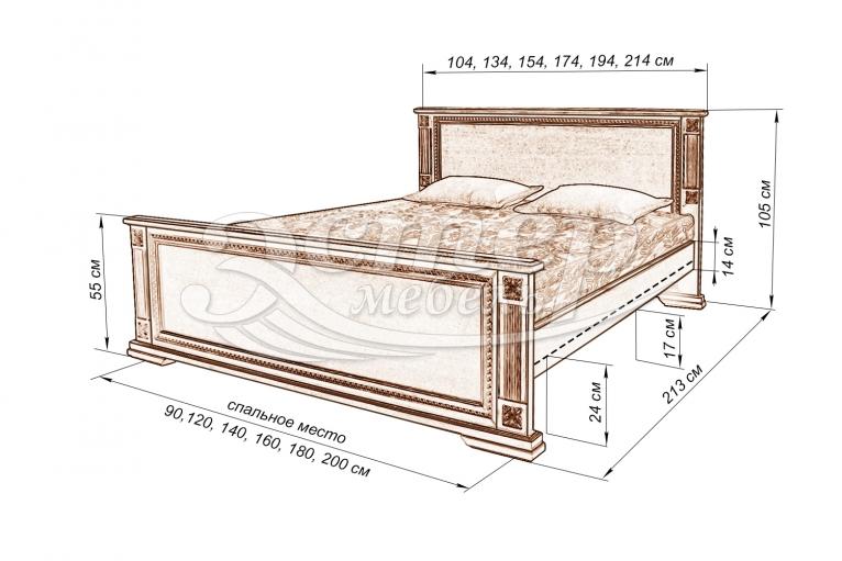 Кровать Риволи из массива дуба