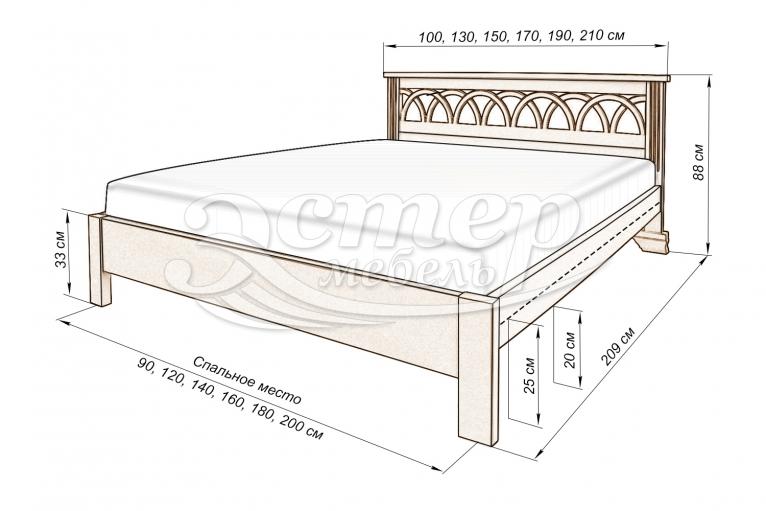 Кровать Прага (Люкс) из массива дуба