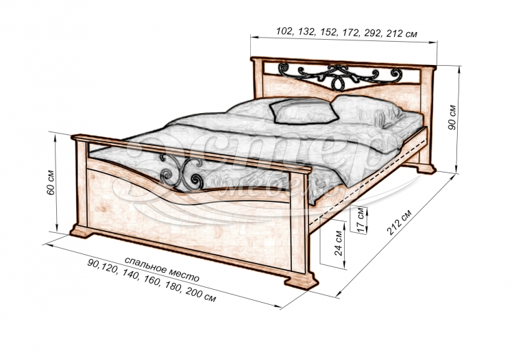 Кровать Сена (ковка) из массива дуба