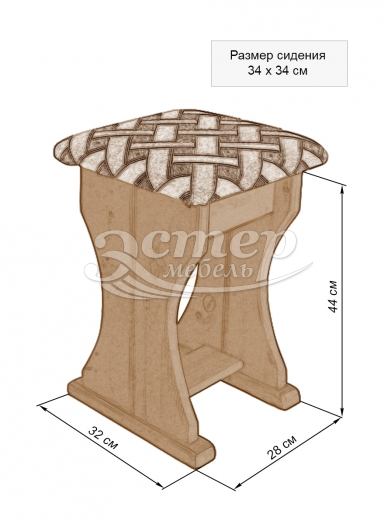 Табурет-парта из массива дуба