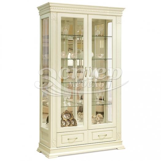 Шкаф двойной Флоренция-1 слоновая кость из массива сосны