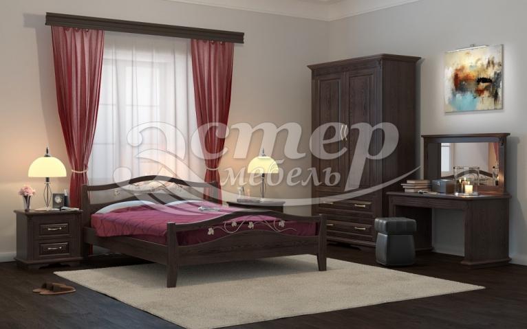 Кровать Валерия (ковка) из массива бука