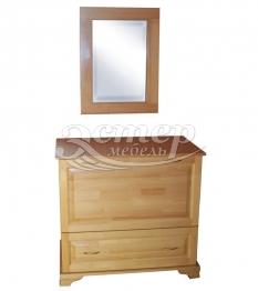 Бельевица с зеркалом из массива сосны