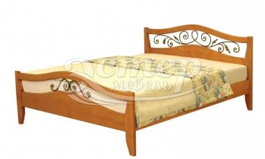 Кровать Валерия (ковка) из массива дуба