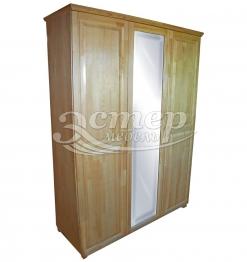 Шкаф 3-х ств. с зеркалом (распашной) из массива сосны