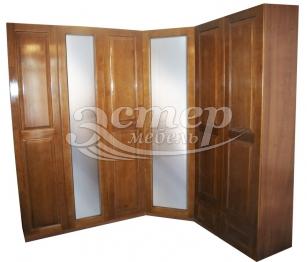 Шкаф угловой с двумя зеркалами из массива сосны
