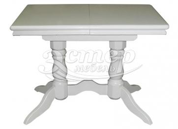 Стол 2 ноги прямоугольный эмаль, с обкладом из массива дуба