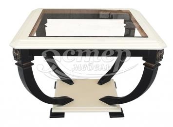 Стол Лев-1 со стеклом из массива бука